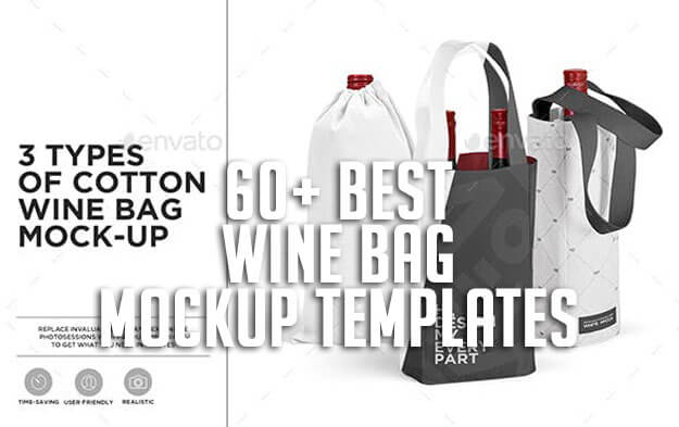 Double Wine Bag Wine Tote Bag Mock Up Wine Carrier Tote Mock Up Editable Background Smart Object Compatible With Affinity Designer